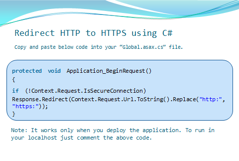 How To Redirect HTTP to HTTPS using C#