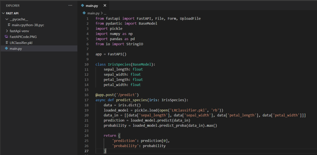 IrisSpecies Classifier API creation using FastAPI