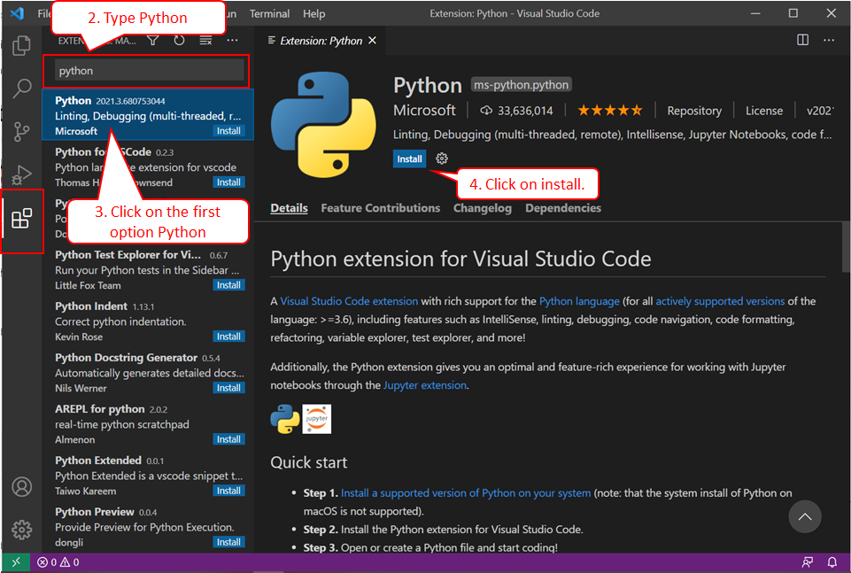 install python extension in visual studio code