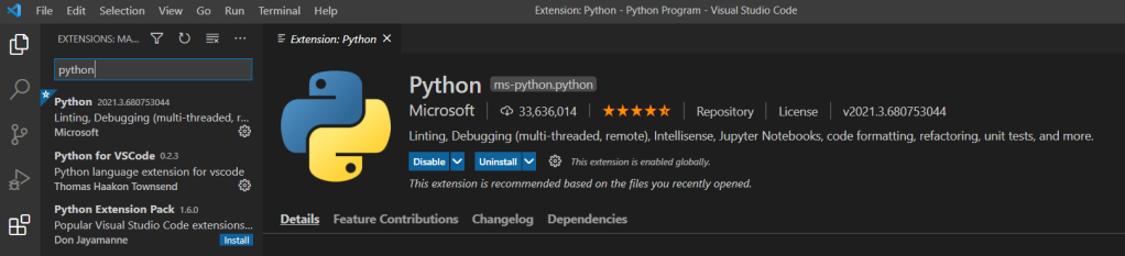 Python on visual studio code