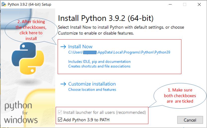 Python installation step 2
