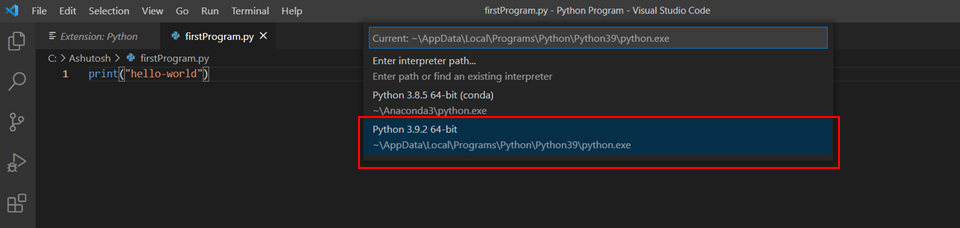 vs code selecting python interpreter