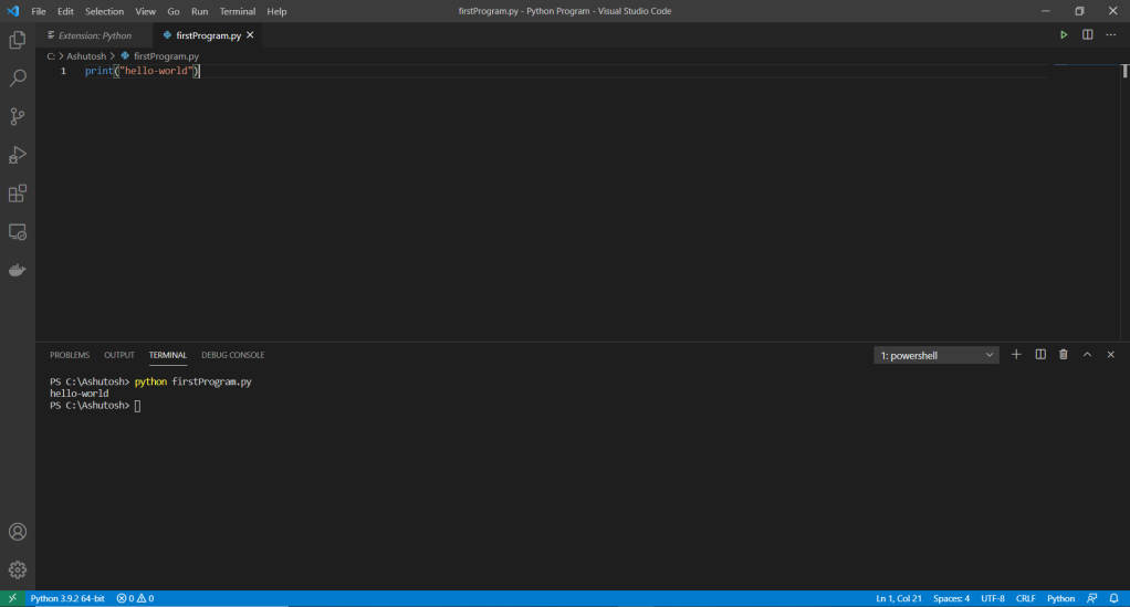 VScode how to run python code